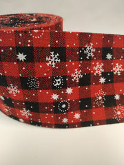 1 Yard 3 inch christmas plaid red and black cloth fabric like ribbon. 3