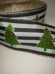 1 Yard 2.5 inch - WIRED - CHRISTMAS TREES ON black and ivory strips  - HOLIDAY - WREATH -  2 1/2 INCH WIDTH RIBBON