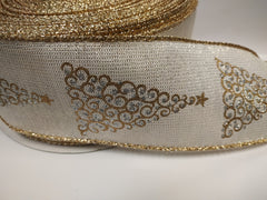 1 Yard 2.5 inch - wired - CHRISTMAS trees gold and silver on beige and gold - HOLIDAY - WREATH - 2 1/2 inch width ribbon