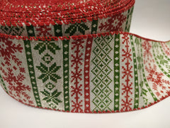 1 Yard 2.5 inch - wired - CHRISTMAS -ornament of christmas red and green on beige. - HOLIDAY - WREATH - 2 1/2 inch width ribbon