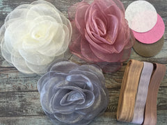 9 Piece Headband Large Organza 4 inch Flower DIY Kit - Baby Shower Gift - Makes 3 Large Flower Headbands!