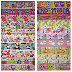 CUTE ANIMALS RIBBON KIT - 60 YARDS TOTAL - 3 YARDS EACH DESIGN - 20 DIFFERENT DESIGNS - SOME 7/8 INCH AND SOME 1 INCH - PRINTED GROSGRAIN RIBBON OWLS FLAMINGO ELEPHANT OWL