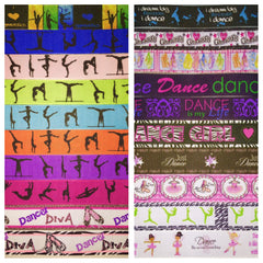 GYMNASTICS / DANCE RIBBON KIT - 60 YARDS TOTAL - 3 YARDS EACH DESIGN - 20 DIFFERENT DESIGNS - SOME 7/8 INCH AND SOME 1 INCH - PRINTED GROSGRAIN RIBBON