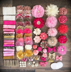 114 Piece PRETTY IN PINK - Mega Deluxe Headband Flower DIY Kit - Baby Shower Gift -  STUNNING!!!