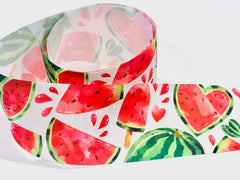 1 Yard 3 inch Watermelon Sweets Fruit Fruits Food on White Colorful Printed Grosgrain Ribbon Cheer Hair Bow - 3""