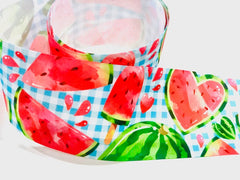 1 Yard 3 inch Watermelon Sweets Fruit Fruits Food on Blue Plaid Colorful Printed Grosgrain Ribbon Cheer Hair Bow - 3""
