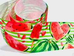1 Yard 3 inch Watermelon Sweets Fruit Fruits Food on Green Stripes Colorful Printed Grosgrain Ribbon Cheer Hair Bow - 3""