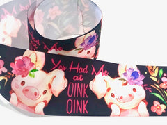 1 Yard 3 inch PIGGY Pig Pigs You Had Me at OINK OINK Cute Printed Grosgrain Ribbon Cheer Hair Bow - 3