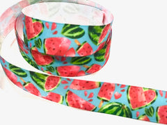 1 Yard 7/8 inch Watermelon Sweets Fruit Fruits Food on Light Blue Colorful Printed Grosgrain Ribbon Cheer Hair Bow - 3""