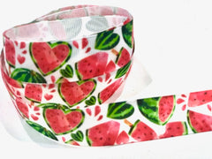 1 Yard 7/8 inch Watermelon Sweets Fruit Fruits Food on White Colorful Printed Grosgrain Ribbon Cheer Hair Bow - 3""