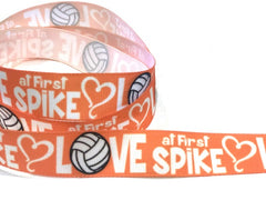 1 Yard 7/8 inch VOLLEYBALL Love at First SPIKE Sports Black and White on Orange Printed Grosgrain Ribbon Hair Bow - 7/8""