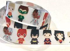 "1 Yard 7/8"" inch Super Hero Girls Superhero Super Heroes Superheroes - Printed Grosgrain Ribbon for 7/8 inch Cheer Hair Bow"