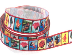 1 Yard 7/8 inch LOTERIA Mexican Game Mexico Colorful Red Border Printed Grosgrain Ribbon Hair Bow - 7/8""