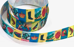 1 Yard 7/8 inch LOTERIA Mexican Game Mexico Colorful Printed Grosgrain Ribbon Hair Bow - 7/8""