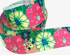 1 Yard 1.5 inch FLOWERS Floral Pattern Bright Pink Green Yellow Printed Grosgrain Ribbon Hair Bow - 1 1/2""