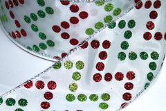 1 Yard 2.5 inch - WIRED - CHRISTMAS RED GREEN GLITTER DOTS  - CHEVRON - HOLIDAY - WREATH -  2 1/2 INCH WIDTH RIBBON