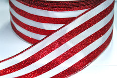 1 Yard 2.5 inch - WIRED - CHRISTMAS RED GLITTER STRIPES - CANDY CANE - HOLIDAY - WREATH -  2 1/2 INCH WIDTH RIBBON