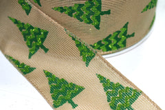 1 Yard 2.5 inch - WIRED - CHRISTMAS TREES ON NATURAL - HOLIDAY - WREATH -  2 1/2 INCH WIDTH RIBBON