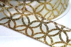 1 Yard 1.5 inch - WIRED -  GOLD GLITTER ON IVORY  - MODERN FLORAL - HOLIDAY - WREATH -  1 1/2 INCH WIDTH