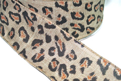 1 Yard 2.5 inch - WIRED -  LEOPARD / CHEETAH ON NATURAL  - COPPER GLITTER - HOLIDAY - WREATH -  2 1/2 INCH WIDTH RIBBON