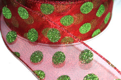 1 Yard 2.5 inch - WIRED -  CHRISTMAS GREEN GLITTER DOTS ON RED - HOLIDAY - WREATH -  2 1/2 INCH WIDTH RIBBON