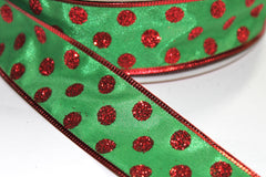 1 Yard 1.5 inch - WIRED - RED GLITTER DOTS ON GREEN -  CHRISTMAS - HOLIDAY - WREATH -  1 1/2 INCH WIDTH RIBBON