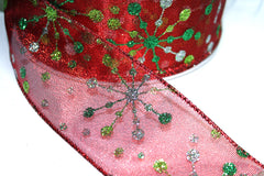1 Yard 2.5 inch - WIRED - GLITTER STARS ON RED - CHRISTMAS - HOLIDAY - WREATH -  2 1/2 INCH WIDTH RIBBON