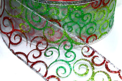 1 Yard 2.5 inch - WIRED - RED AND GREEN GLITTER FILIGREE SWIRLS  - CHRISTMAS - HOLIDAY - WREATH -  2 1/2 INCH WIDTH RIBBON