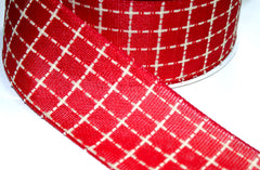 1 Yard 2.5 inch - WIRED - BEIGE AND RED PLAID  - CHRISTMAS - HOLIDAY  - WREATH -  2 1/2 INCH WIDTH RIBBON