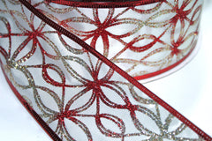 1 Yard 2.5 inch - WIRED - RED AND GOLD ON IVORY - MODERN PATTERN - CHRISTMAS  - HOLIDAY - WREATH -  2 1/2 INCH WIDTH RIBBON