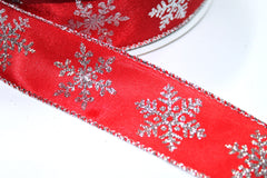 1 Yard 1.5 inch - WIRED - SILVER GLITTER ICICLES ON RED - CHRISTMAS - HOLIDAY - WREATH -  1 1/2 INCH WIDTH RIBBON