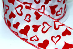 1 Yard 2.5 inch - WIRED -  RED VELVET HEARTS ON WHITE - VALENTINE'S DAY - HOLIDAY - WREATH -  2 1/2 INCH WIDTH RIBBON