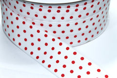 1 Yard 1.5 inch - WIRED - RED POLKA DOTS ON WHITE - CHRISTMAS - HOLIDAY - WREATH -  1 1/2 INCH WIDTH GROSGRAIN RIBBON