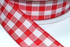 1 Yard 1.5 inch - WIRED - RED AND WHITE PLAID CHECKERED - CHRISTMAS - HOLIDAY - WREATH -  1 1/2 INCH WIDTH RIBBON