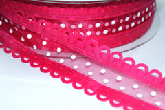 1 Yard 1.5 inch - WIRED - HOT PINK DECORATIVE BORDER WHITE POLKA DOTS - HOLIDAY - WREATH -  1 1/2 INCH WIDTH  RIBBON