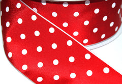 1 Yard 2.5 inch - WIRED -  WHITE POLKA DOTS ON RED - CHRISTMAS - VALENTINE'S DAY - HOLIDAY - WREATH -  2 1/2 INCH WIDTH