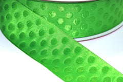 1 Yard 1.5 inch - WIRED - LIME GREEN DOTS ON LIME GREEN - HOLIDAY - WREATH -  1 1/2 INCH WIDTH  RIBBON