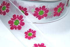 1 Yard 1.5 inch - WIRED - HOT PINK GLITTER FLOWERS ON WHITE - HOLIDAY - WREATH -  1 1/2 INCH WIDTH  RIBBON