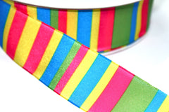 1 Yard 1.5 inch - WIRED - COLOR VERTICAL STRIPES - HOLIDAY - WREATH -  1 1/2 INCH WIDTH  RIBBON