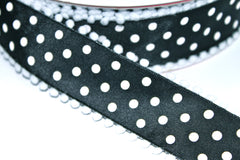 1 Yard 1.5 inch - WIRED -  WHITE POLKA DOTS ON BLACK - COTTON BALL EDGE -  HOLIDAY - WREATH -  1 1/2 INCH WIDTH RIBBON