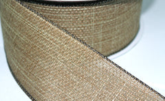 1 Yard 2.5 inch - WIRED -  BURLAP LIKE - NATURAL COLOR - BROWN EDGE -  HOLIDAY - WREATH -  2 1/2 INCH WIDTH RIBBON