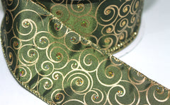 1 Yard 2.5 inch - WIRED -  GOLD AND GLITTER SWIRLS ON OLIVE GREEN - GOLD EDGE -  HOLIDAY - WREATH -  2 1/2 INCH WIDTH RIBBON