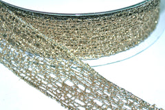 1 Yard 1.5 inch - WIRED -  GOLD MESH - HOLIDAY - WREATH -  1 1/2 INCH WIDTH RIBBON