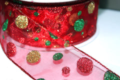 1 Yard 2.5 inch - WIRED -  RED GREEN AND GOLD GLITTER POLKA DOTS  ON RED  - CHRISTMAS - WEDDING  - HOLIDAY - WREATH -  2 1/2 INCH WIDTH RIBBON