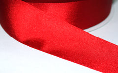 1 Yard 1.5 inch - WIRED -  RED SHINY RIBBON - REVERSIBLE (SAME ON BOTH SIDES)   - CHRISTMAS - WEDDING  - HOLIDAY - WREATH -  1 1/2 INCH WIDTH RIBBON