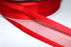 1 Yard 1.5 inch - WIRED -  RED BORDER AND RED TRANSLUCENT CENTER  - HOLIDAY - WREATH -  1 1/2 INCH WIDTH RIBBON