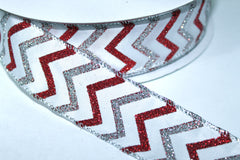 1 Yard 1.5 inch - WIRED -  SILVER AND RED GLITTER CHEVRON ON WHITE   - HOLIDAY - WREATH -  1 1/2 INCH WIDTH RIBBON