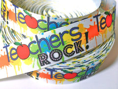 1 Yard 1 inch TEACHERS ROCK! TEACHER TEACHER'S BACK TO SCHOOL  Printed Grosgrain Ribbon