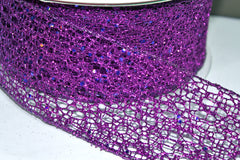 1 Yard 2.5 inch - WIRED -  PURPLE GLITTER MESH  -  CHRISTMAS - HOLIDAY - WREATH -  2 1/2 INCH WIDTH RIBBON