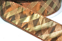 1 Yard 1.5 inch - WIRED -  GOLD AND COPPER PLAID - THANKSGIVING  -  CHRISTMAS - HOLIDAY - WREATH - 1 1/2 INCH WIDTH RIBBON